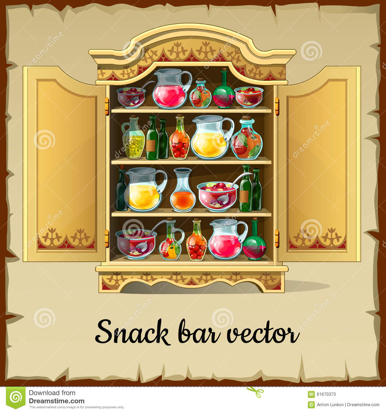 Cartoon Cabinet Buffet With Drinks And Dishes Stock Photo Image 61670373