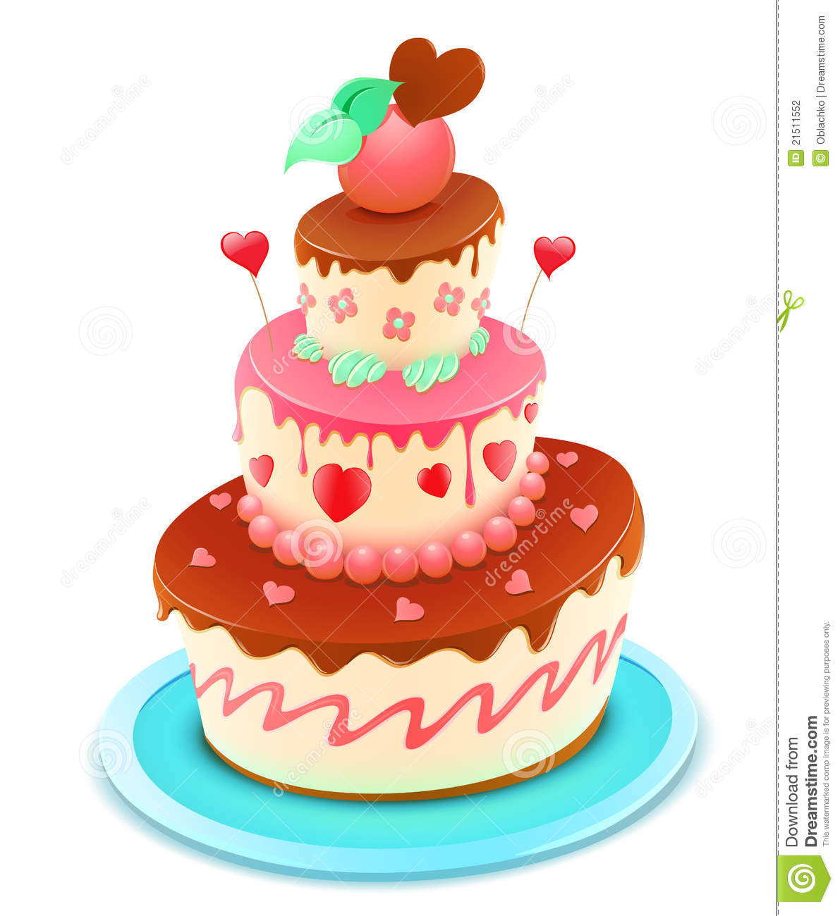 Vector illustration of a romantic tiered cake decorated with flowers ...
