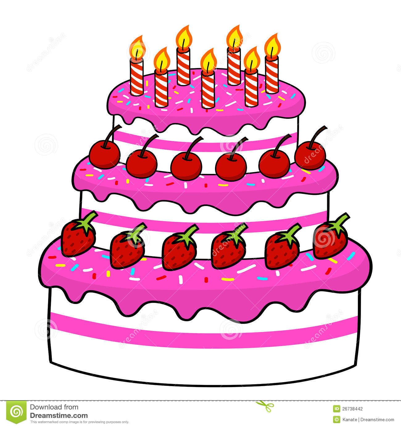 Cartoon Cake Hand Drawing Stock Photography Image - Cartoon birthday cake images