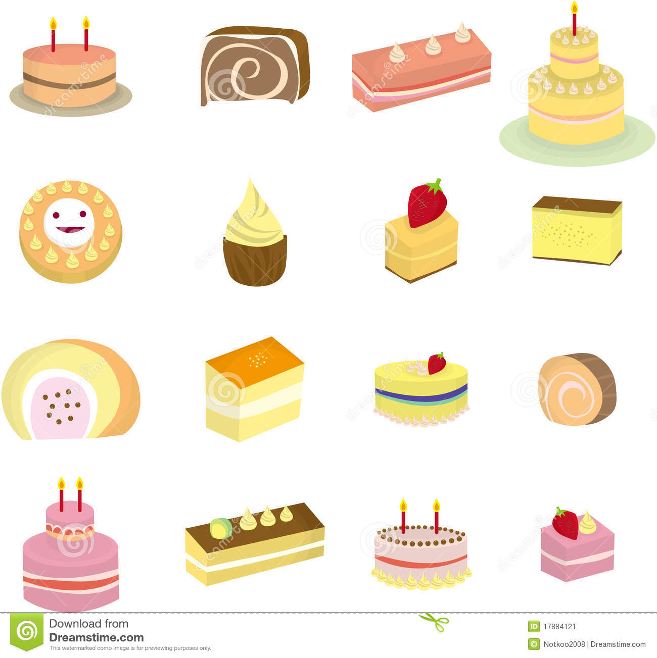 Cartoon Cake Icon Stock Illustration Illustration Of