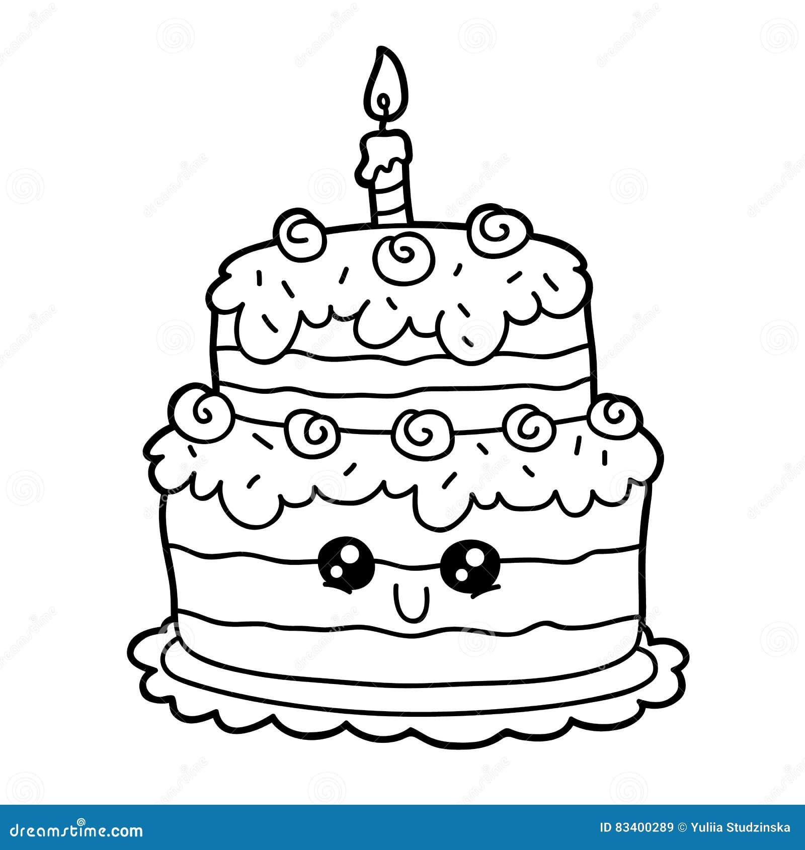 Cartoon Cake Stock Vector Illustration Of Cheerful Hand 83400289
