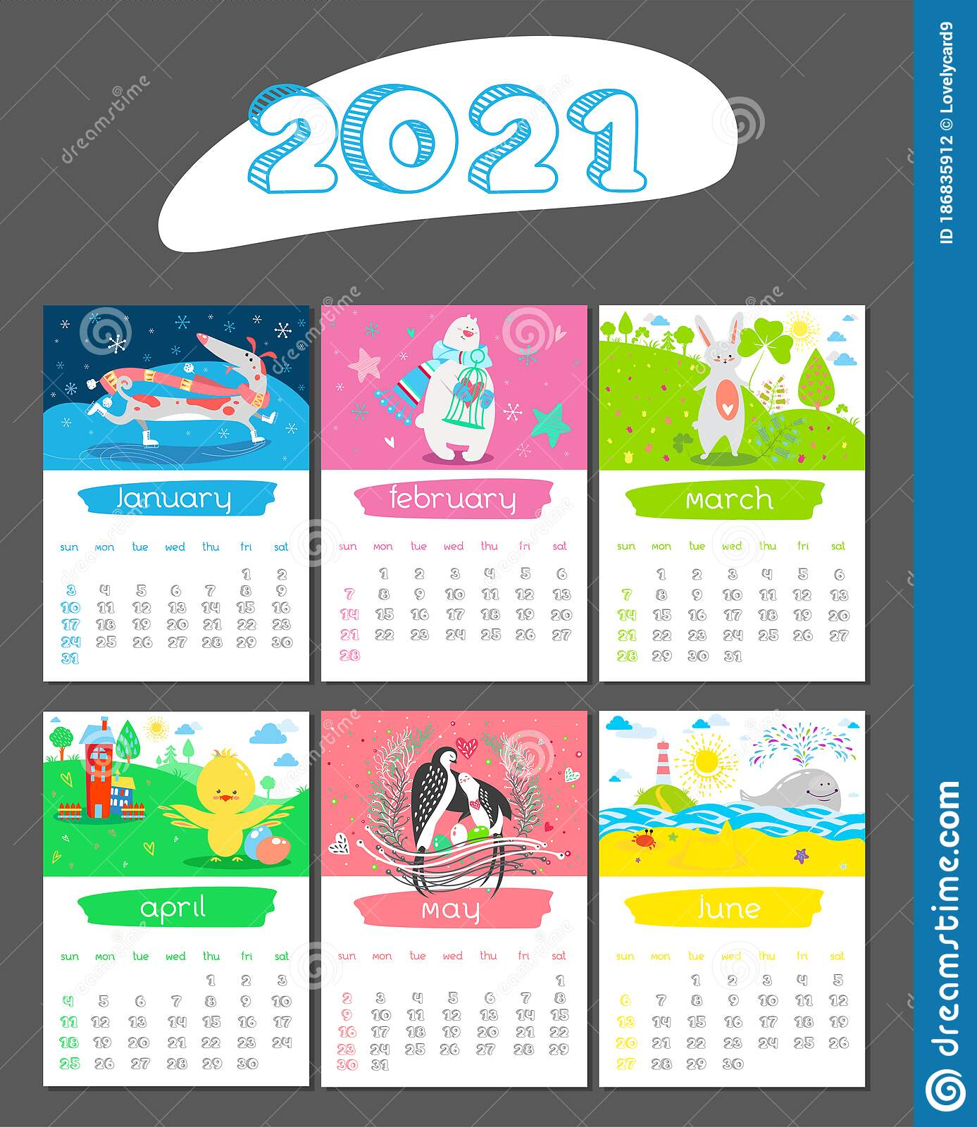 Cartoon Calendar 2021 Year With Animals January February March April May June Stock Vector Illustration Of Cartoon Easter 186835912