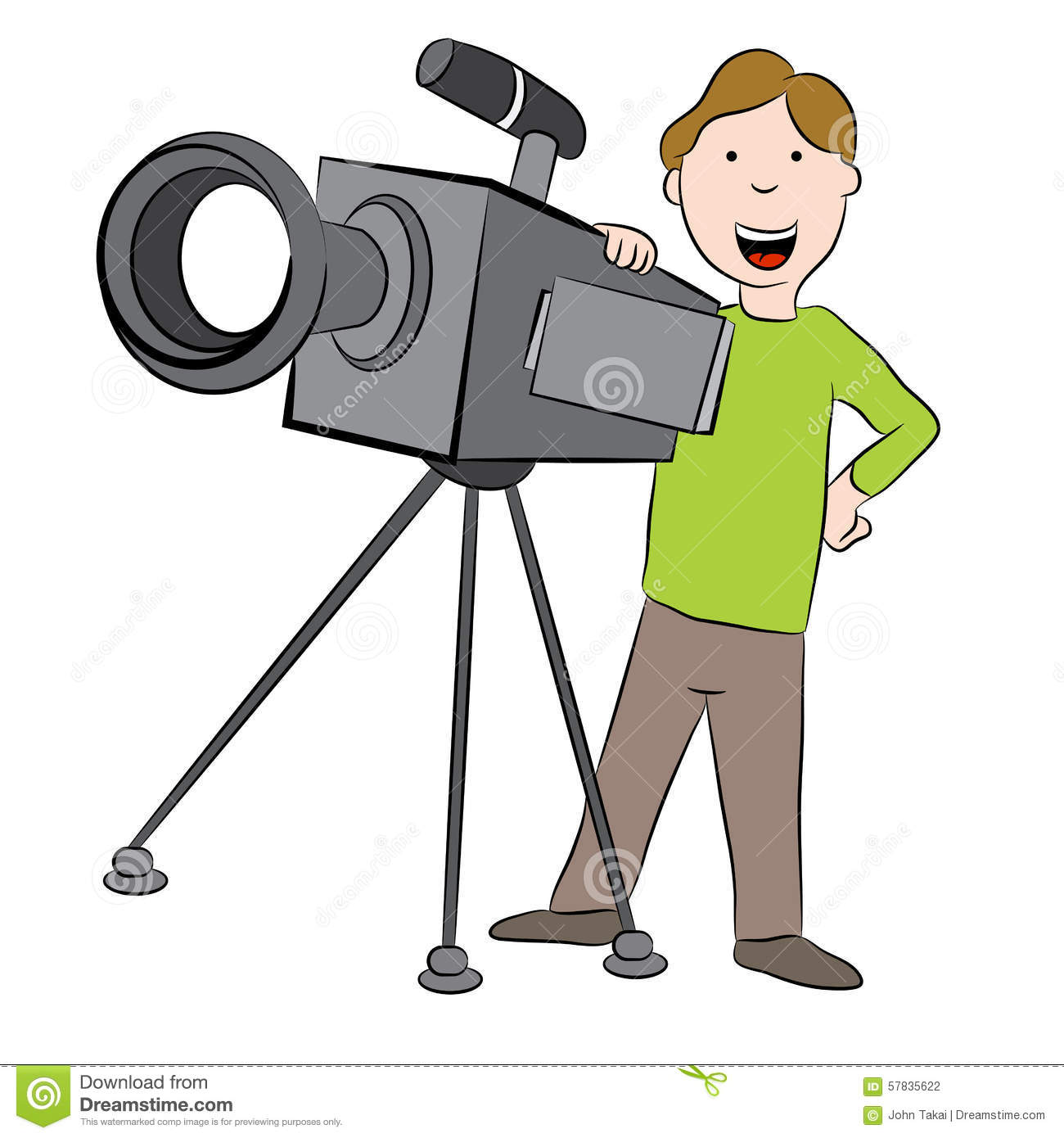 An image of a cartoon cameraman standing behind television camera.
