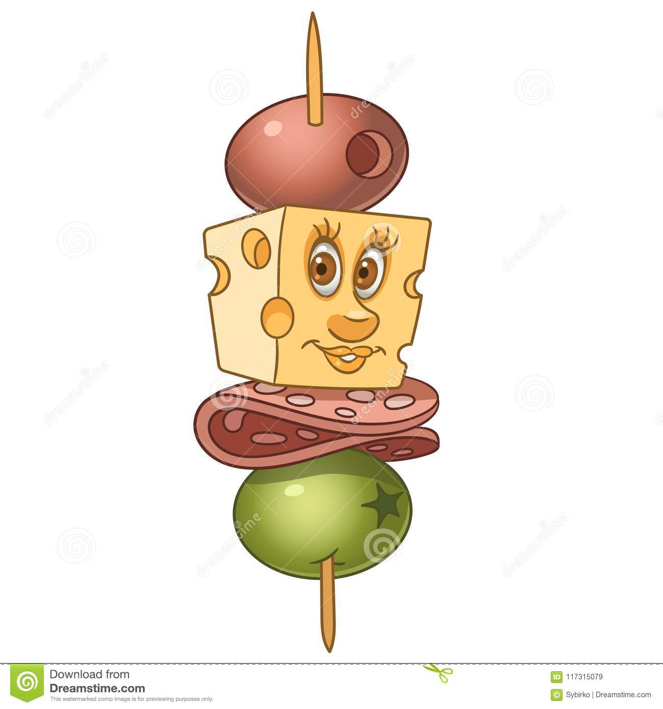Cartoon canape with salami and cheese