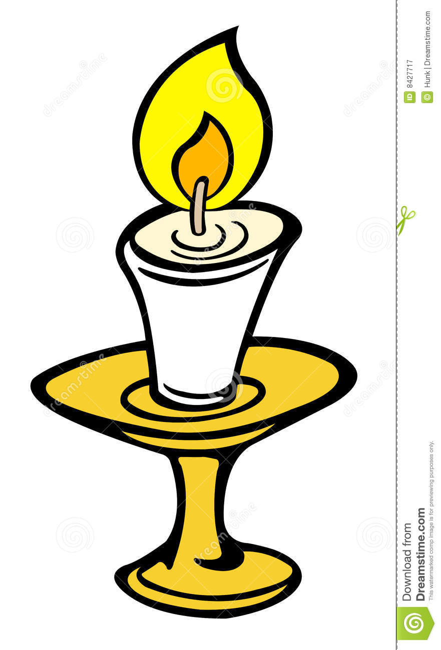 Illustration of an isolated burning candle,vector illustration.
