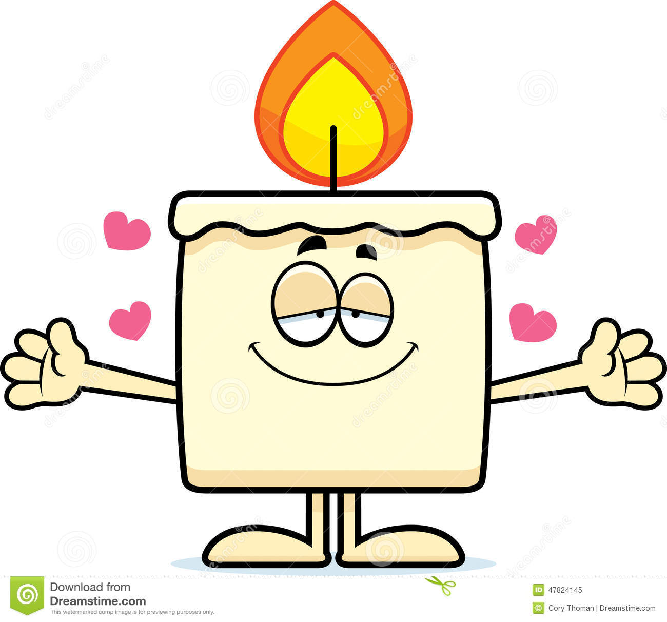 cartoon illustration of a candle ready to give a hug.