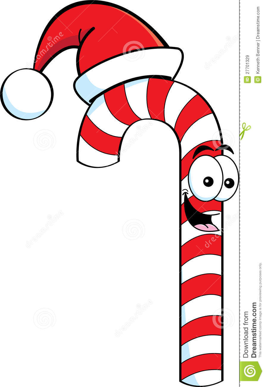 Cartoon Candy Cane Wearing A Santa Hat Royalty Free Stock Images ...