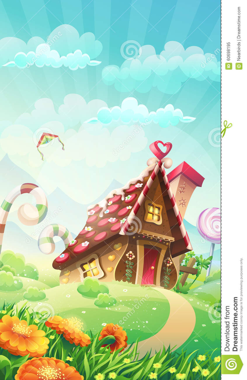 Cartoon Candy House On The Meadow Vector Illustration