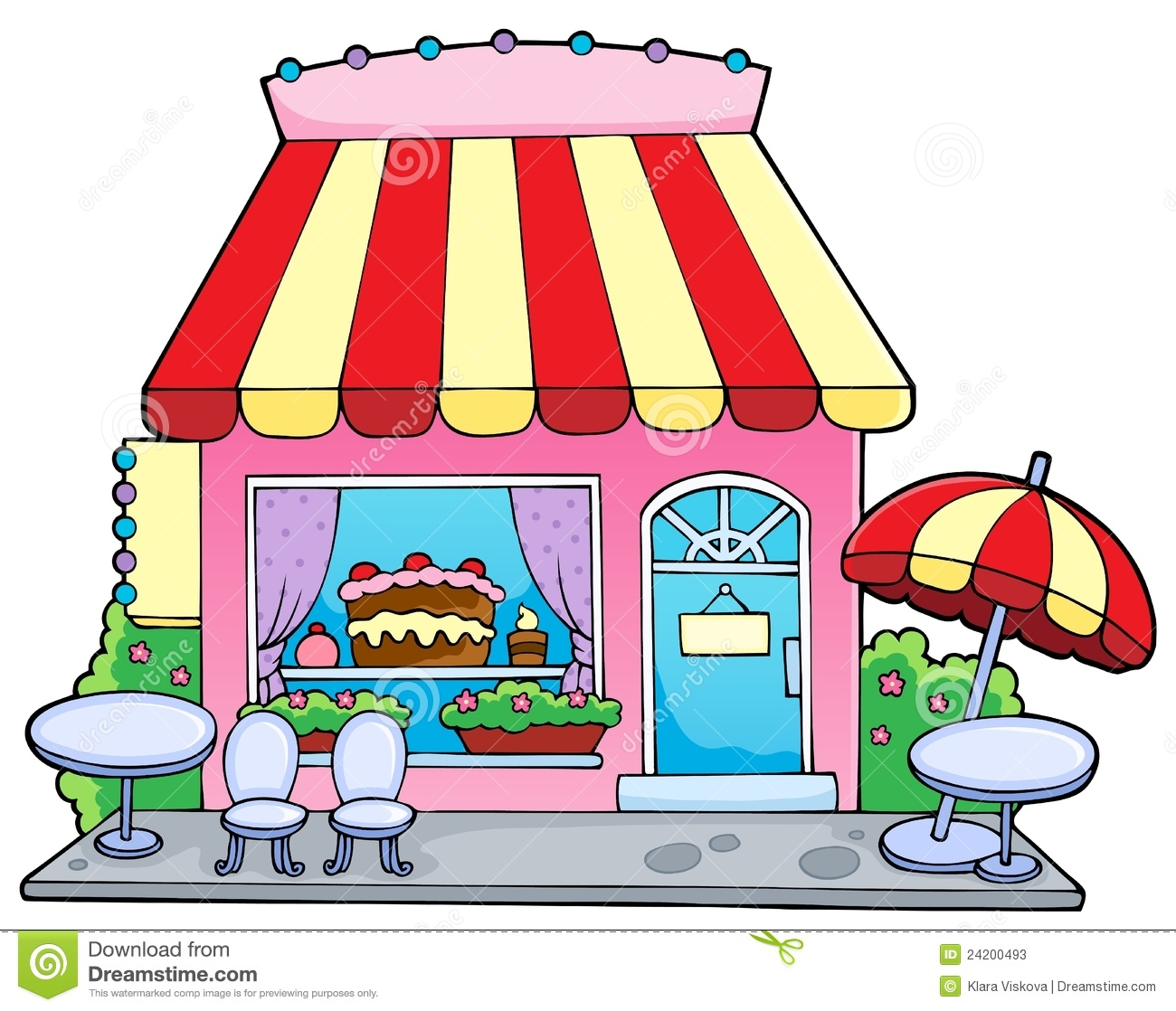 Cartoon Candy Shop on coloring map of the united states