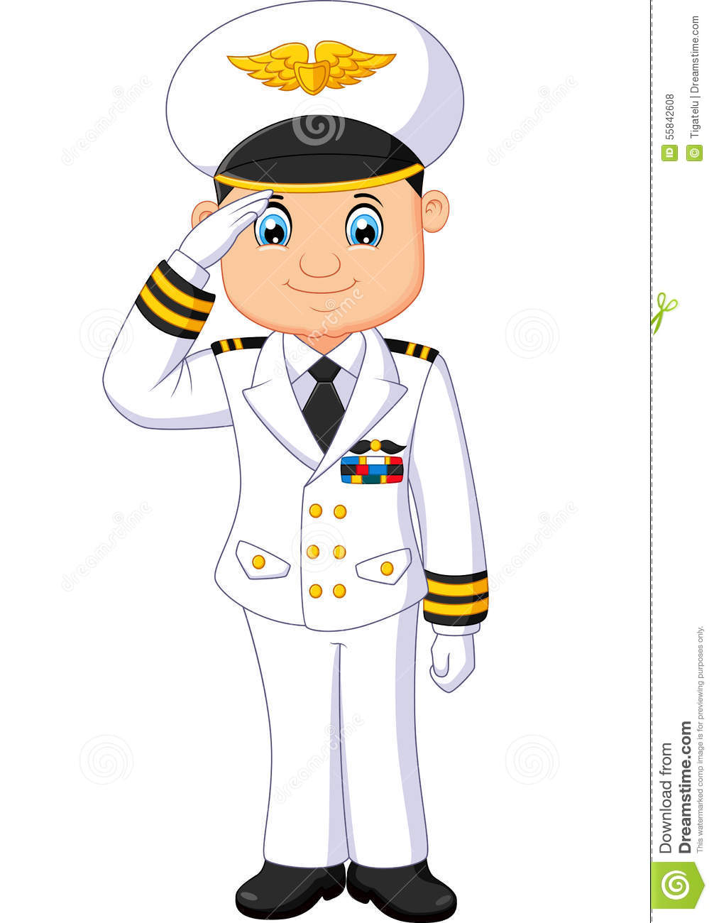 Cartoon Captain Respectful Stock Illustration - Image: 55842608