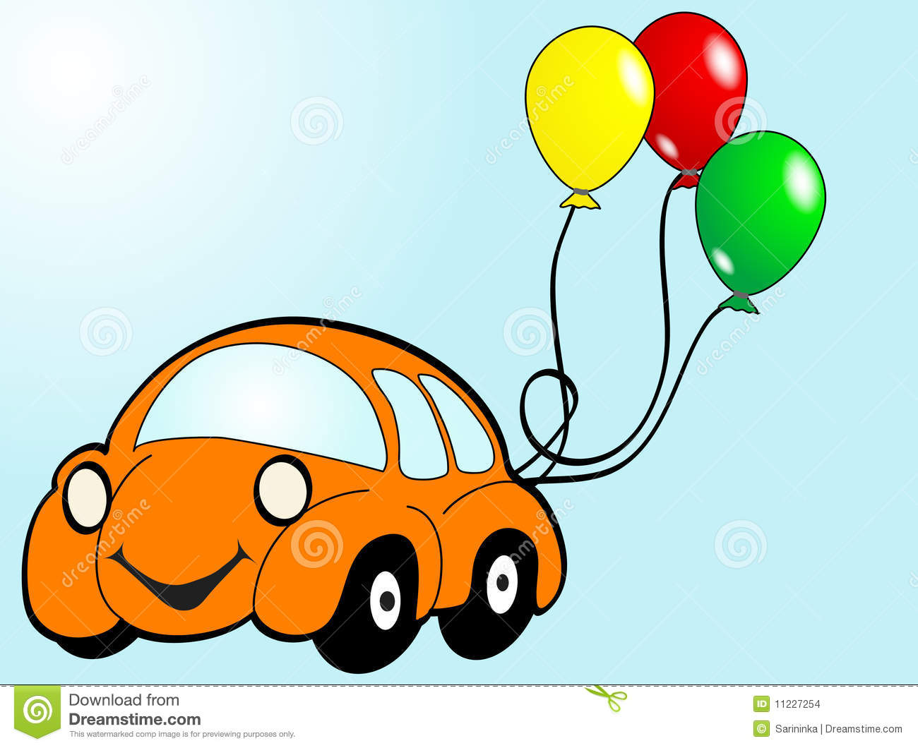 Orange car with balloons - vector illustration.