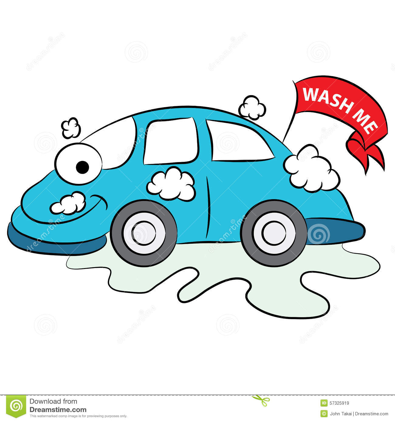 Cartoon Car Being Washed Stock Illustration Image 57325919