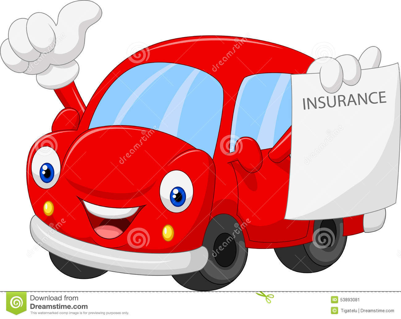 Cartoon Car Holding Insurance Paper And Giving Thumb Up ...