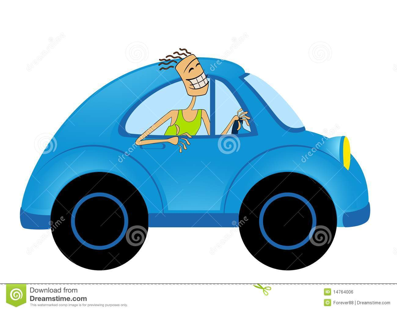 Cartoon car and man