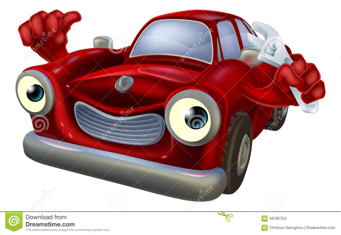 Cartoon car with spanner stock vector illustration of for Auto entrepreneur garage automobile