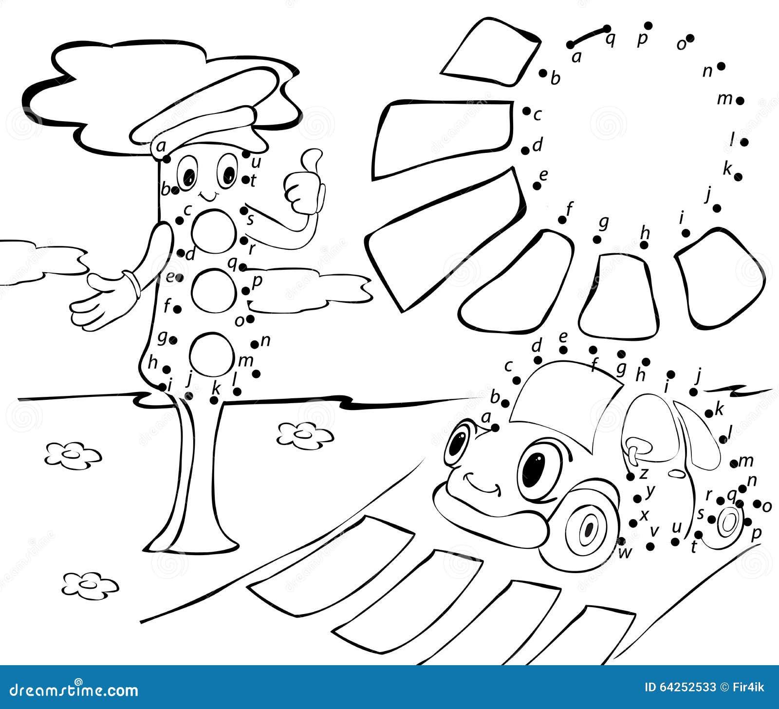 cartoon car  traffic lights and sun  vector illustration  stock vector