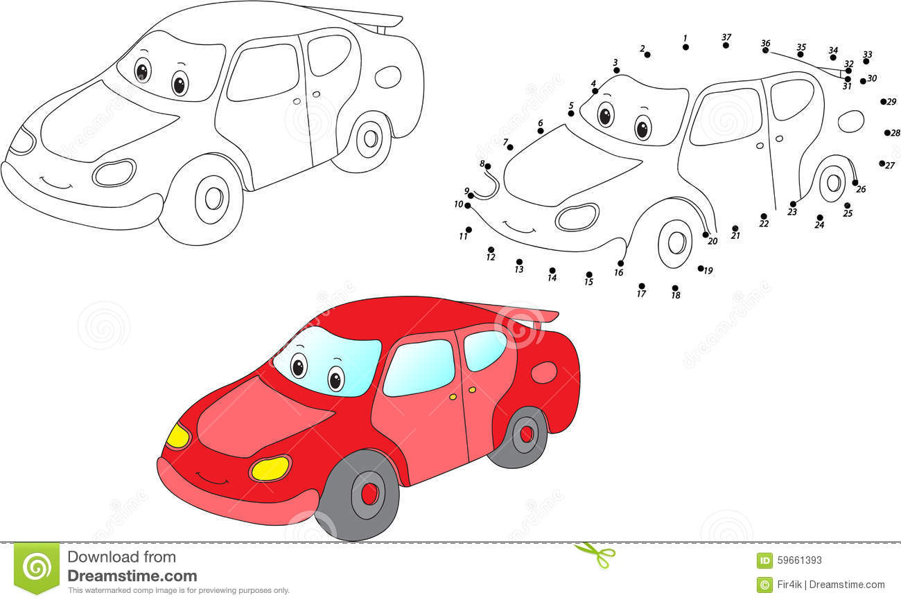 Cartoon Car. Vector Illustration. Coloring And Dot To Dot Game F ...