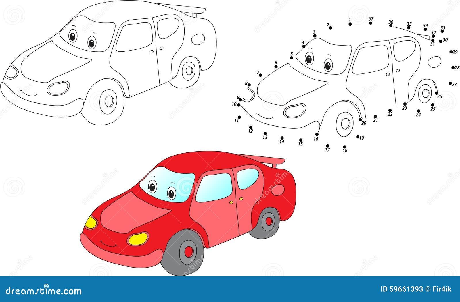 Cartoon Car. Vector Illustration. Coloring And Dot To Dot