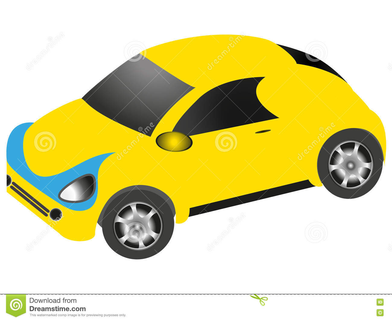 Cartoon Car Of Yellow Color On A White Background Stock Vector