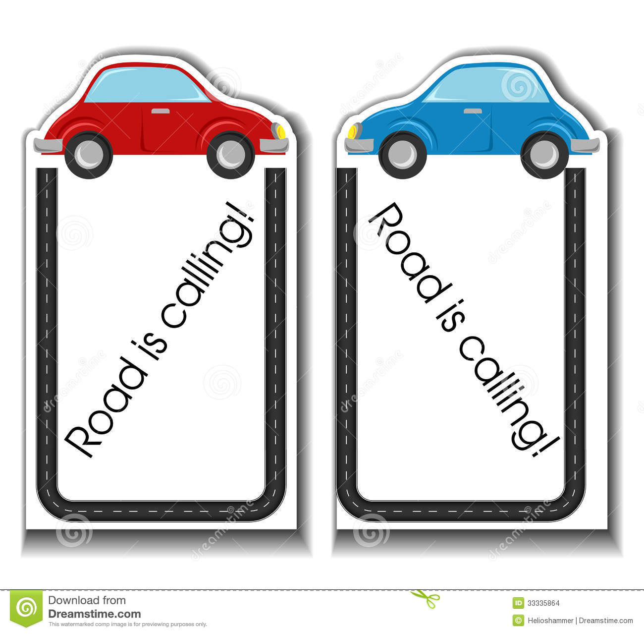 Cartoon Cards With Cars And Road Border Stock Images