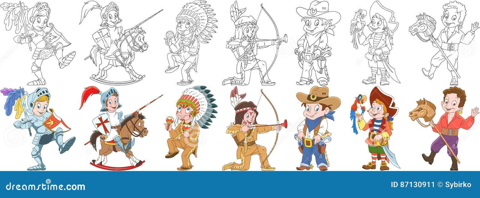 cartoon carnival costumes set stock image