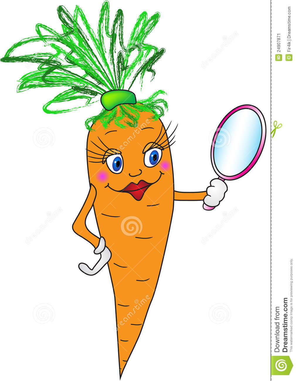 Cartoon carrot with mirror. Vector illustration (EPS 8).
