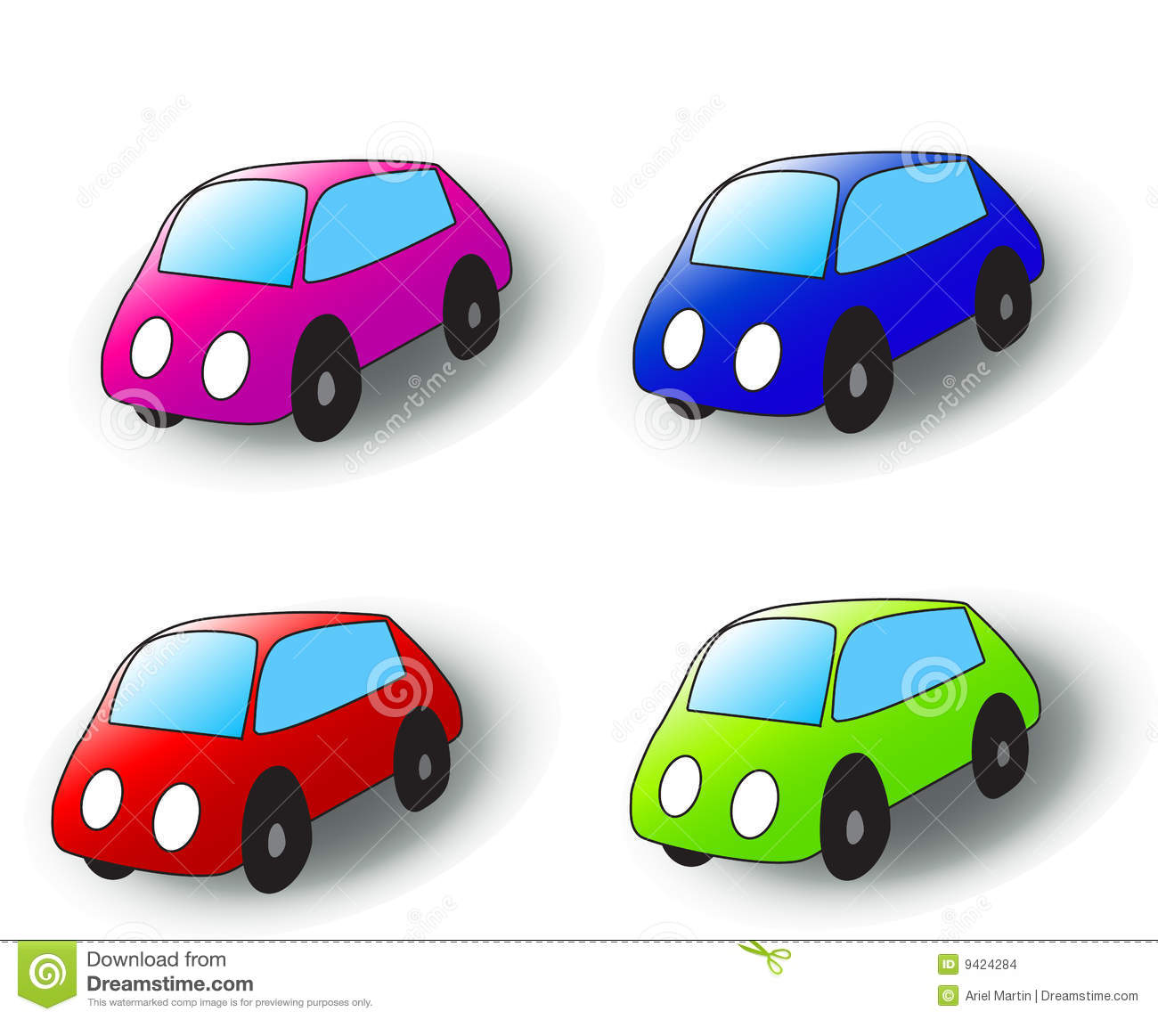 Vector image. Four cartoon cars in various colors.