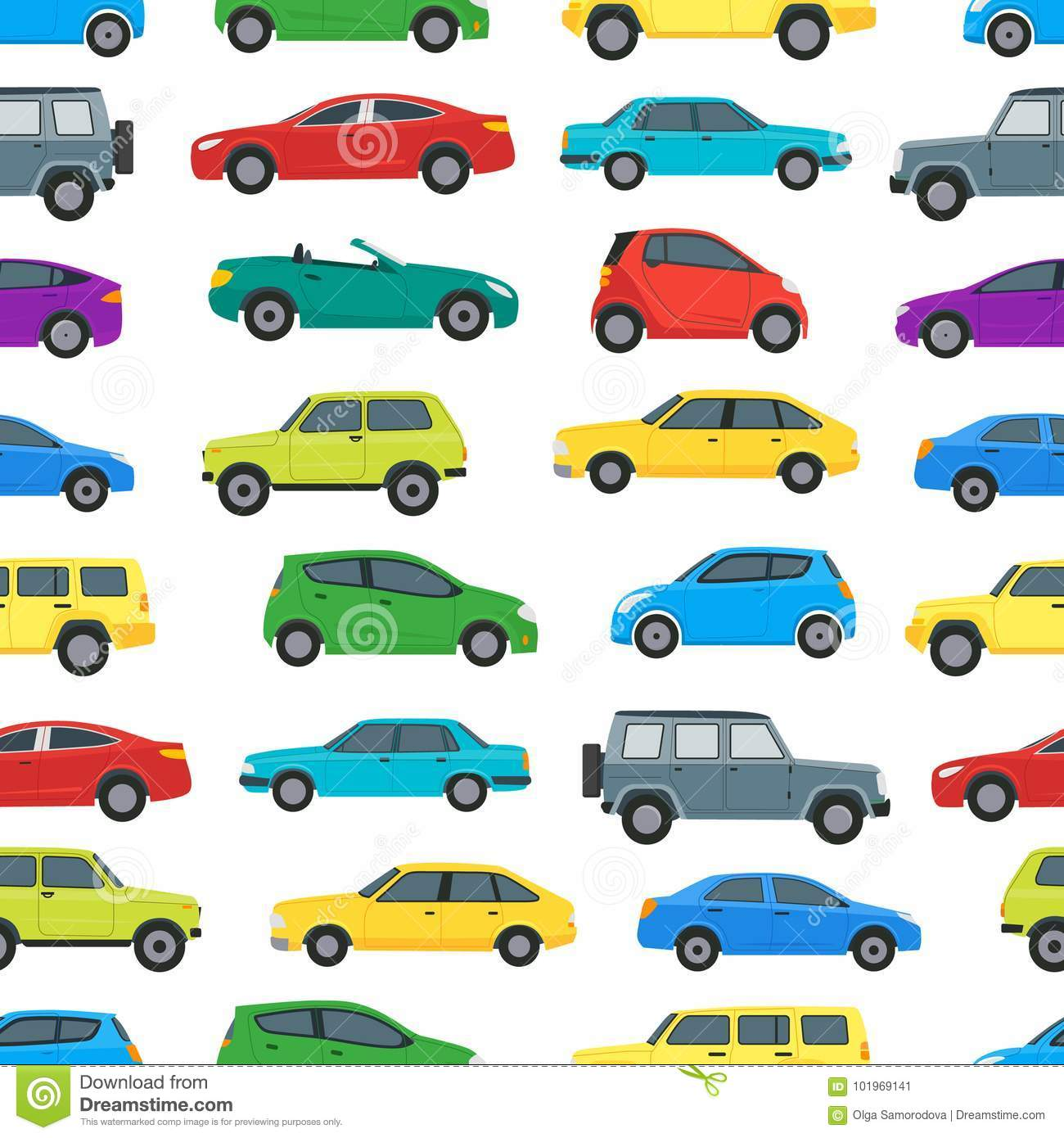Cartoon Cars Background Pattern On A White Vector Stock Vector