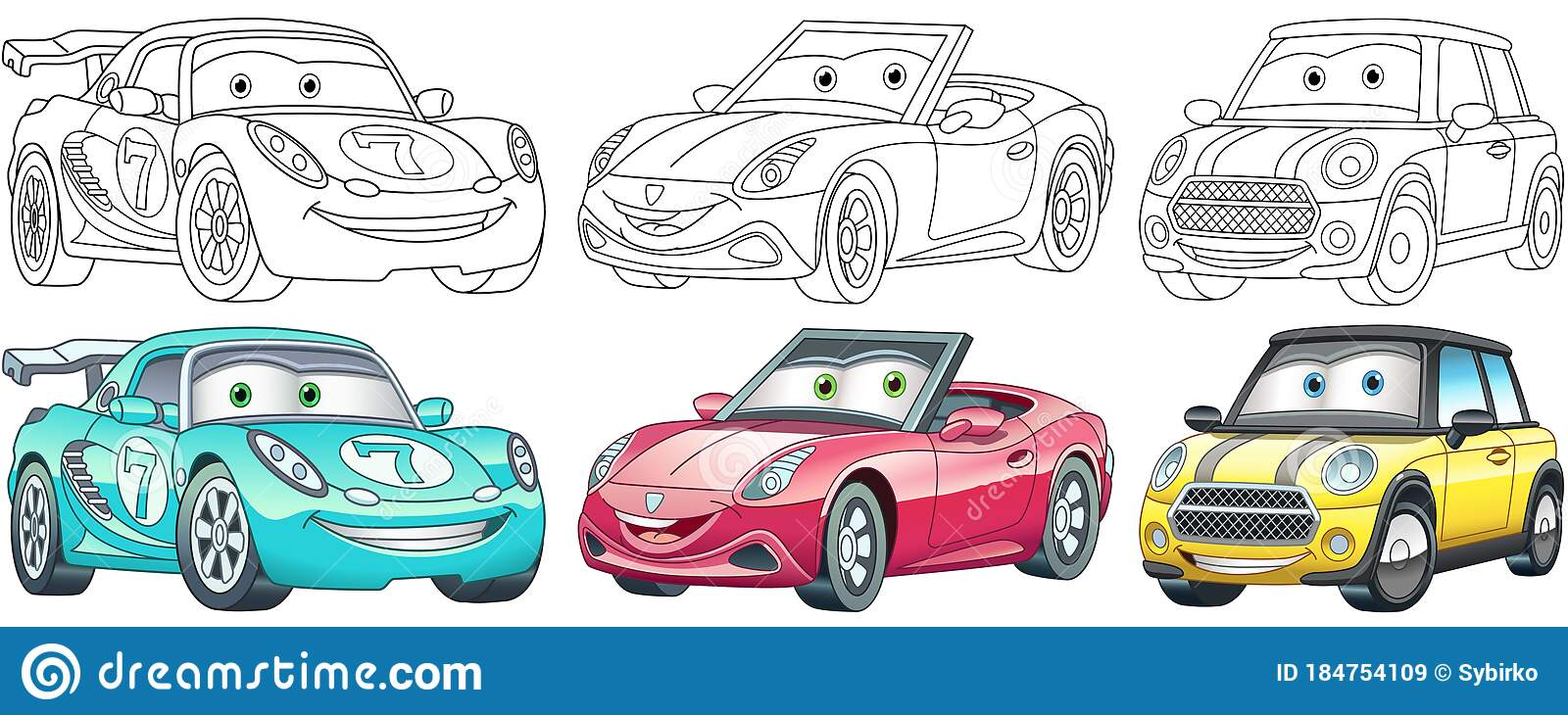 Cartoon Cars Coloring Pages Set Stock Vector Illustration Of Book Icon 184754109