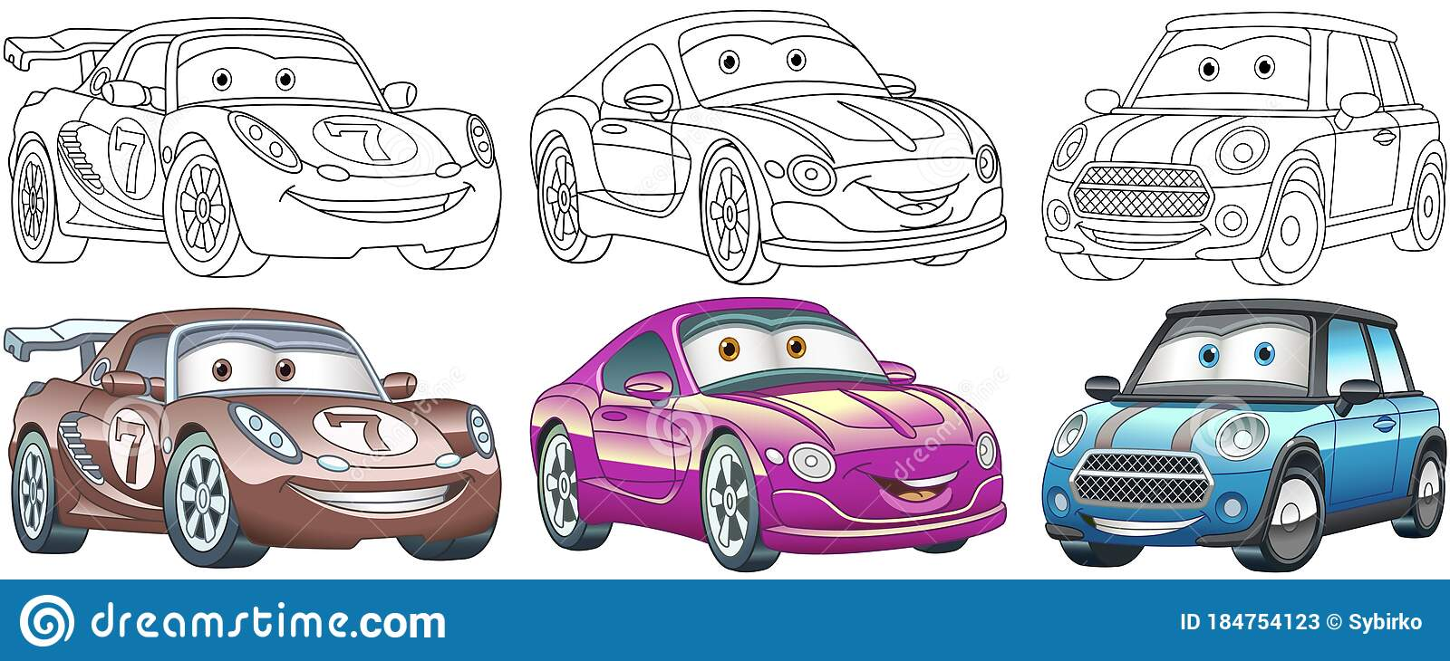 Cartoon Cars Coloring Pages Set Stock Vector Illustration Of Caricature Modern 184754123