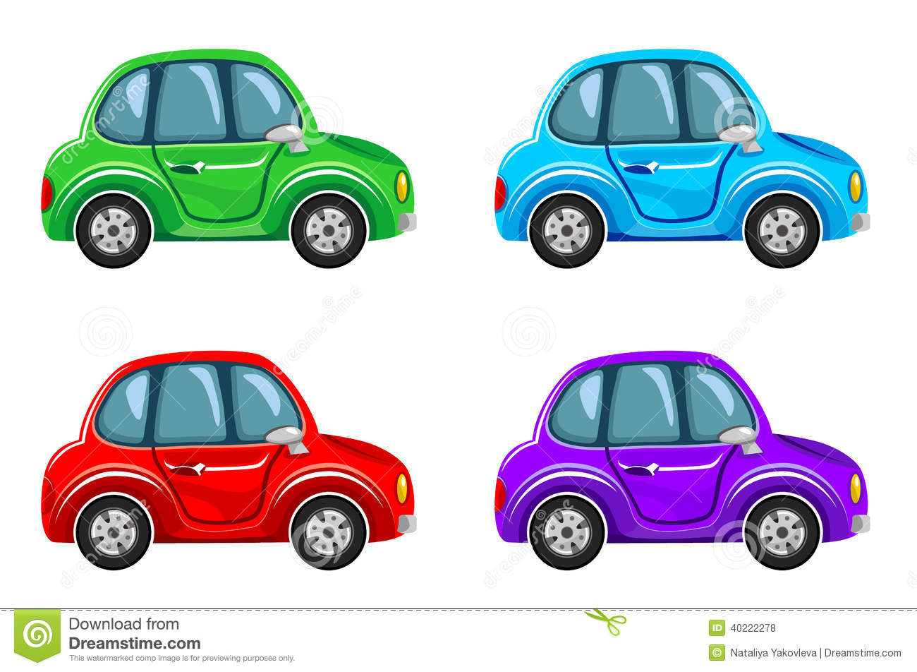 cartoon cars different colors illustration vector