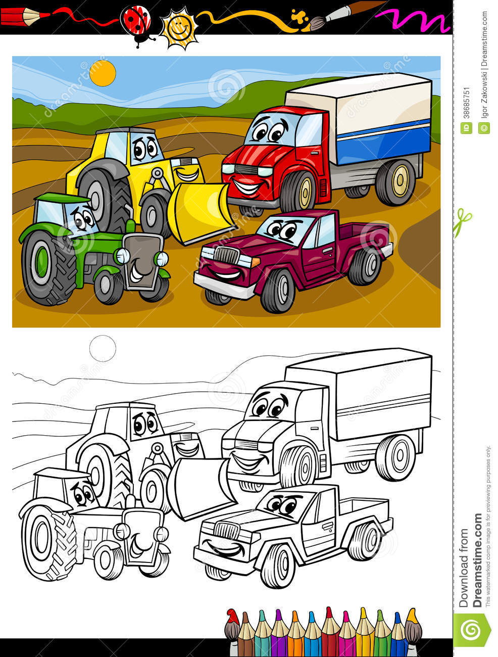 Cartoon Cars And Trucks For Coloring Book Stock Vector