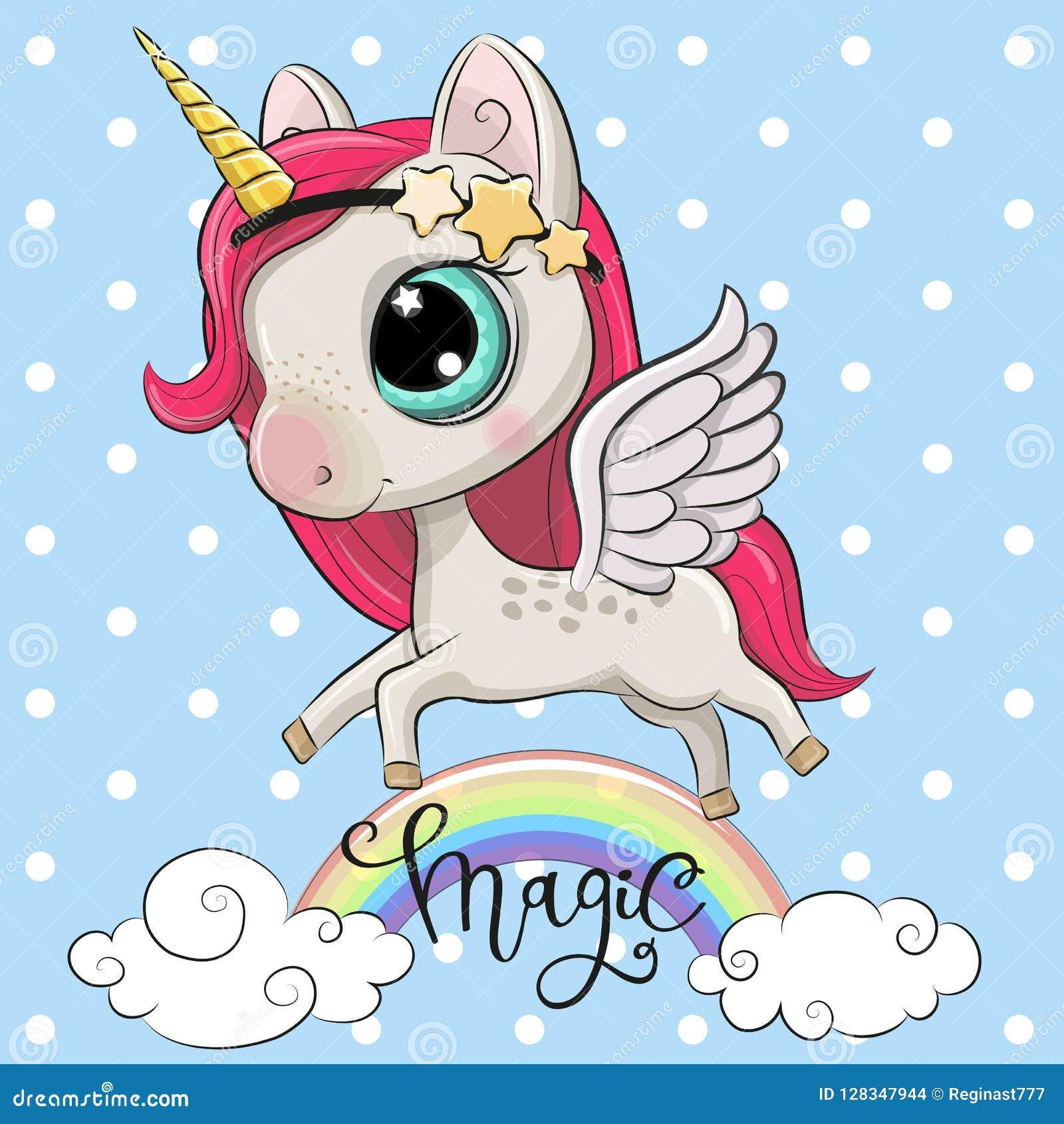 cartoon unicorn is on the rainbow stock vector illustration of