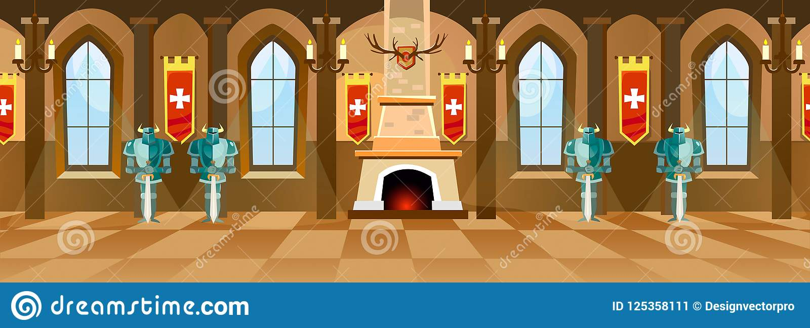 Cartoon castle hall with knights, fireplace and windows in big r