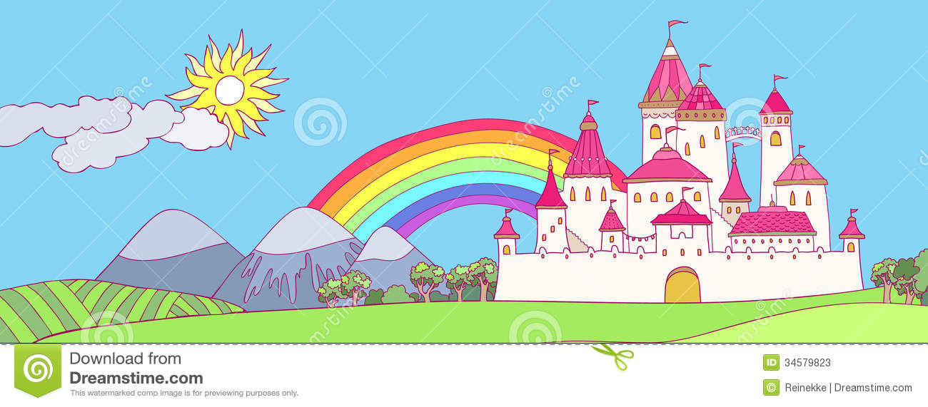 Illustration Of Fairyland Fantasy Kingdom With Rainbow In The Sky ...