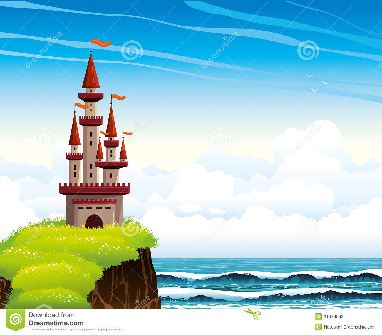 Cartoon Castle Standing On A Cliff On A Lue Sea And Sky. Stock Photos ...