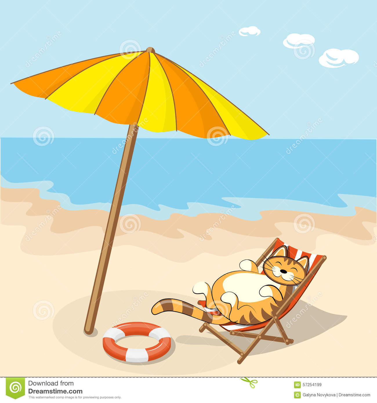 Cartoon cat on the beach stock vector illustration of for Chaise longue plage