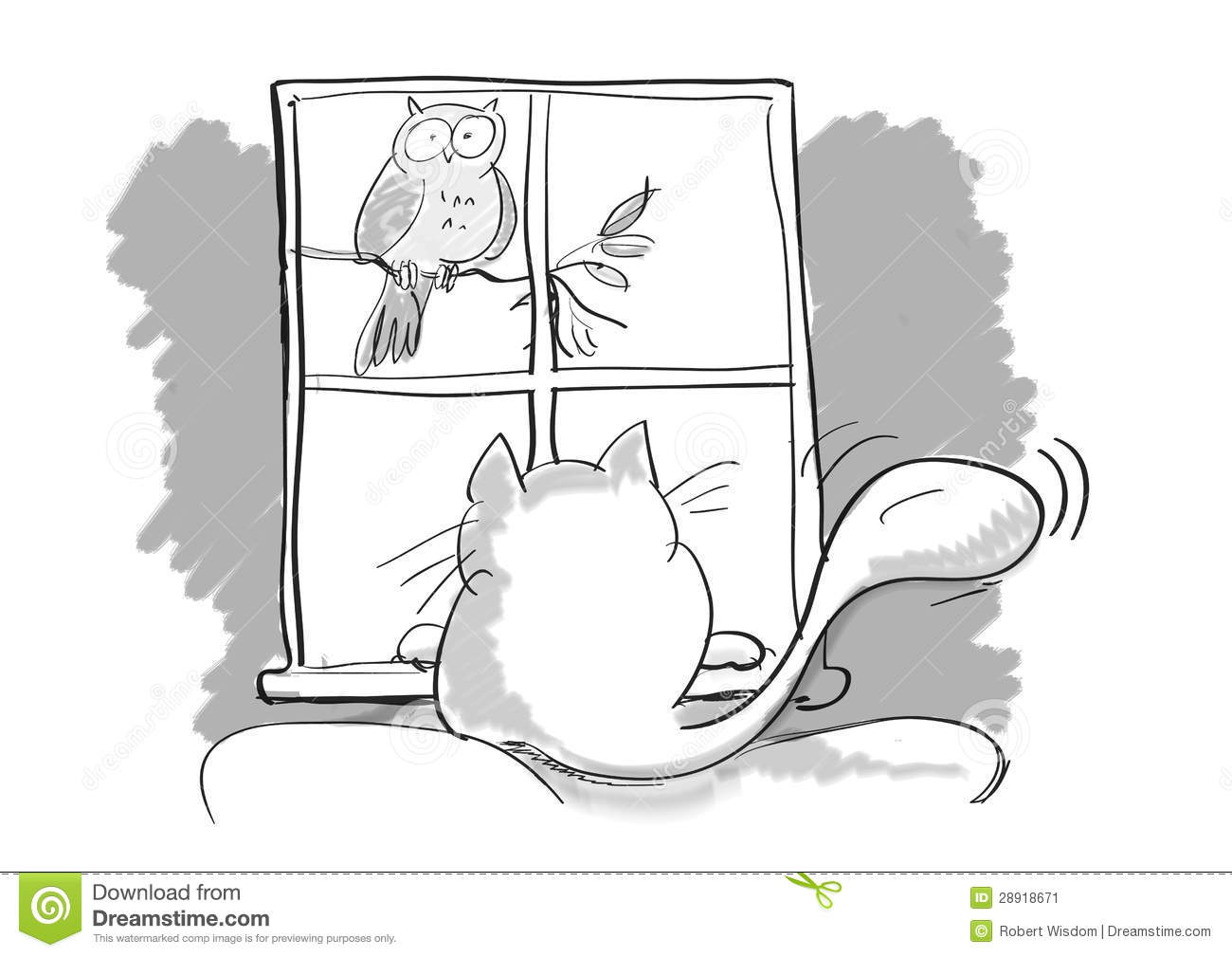 Cartoon Cat And Bird Stock Image