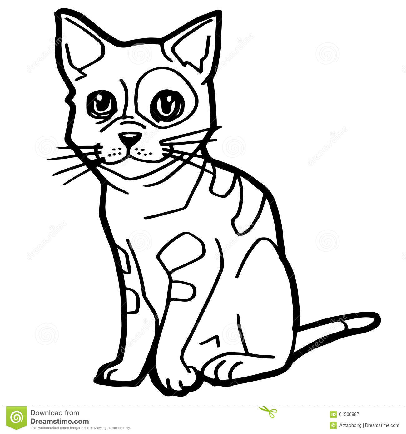 Cartoon Cat Coloring Page stock vector. Image of page ...
