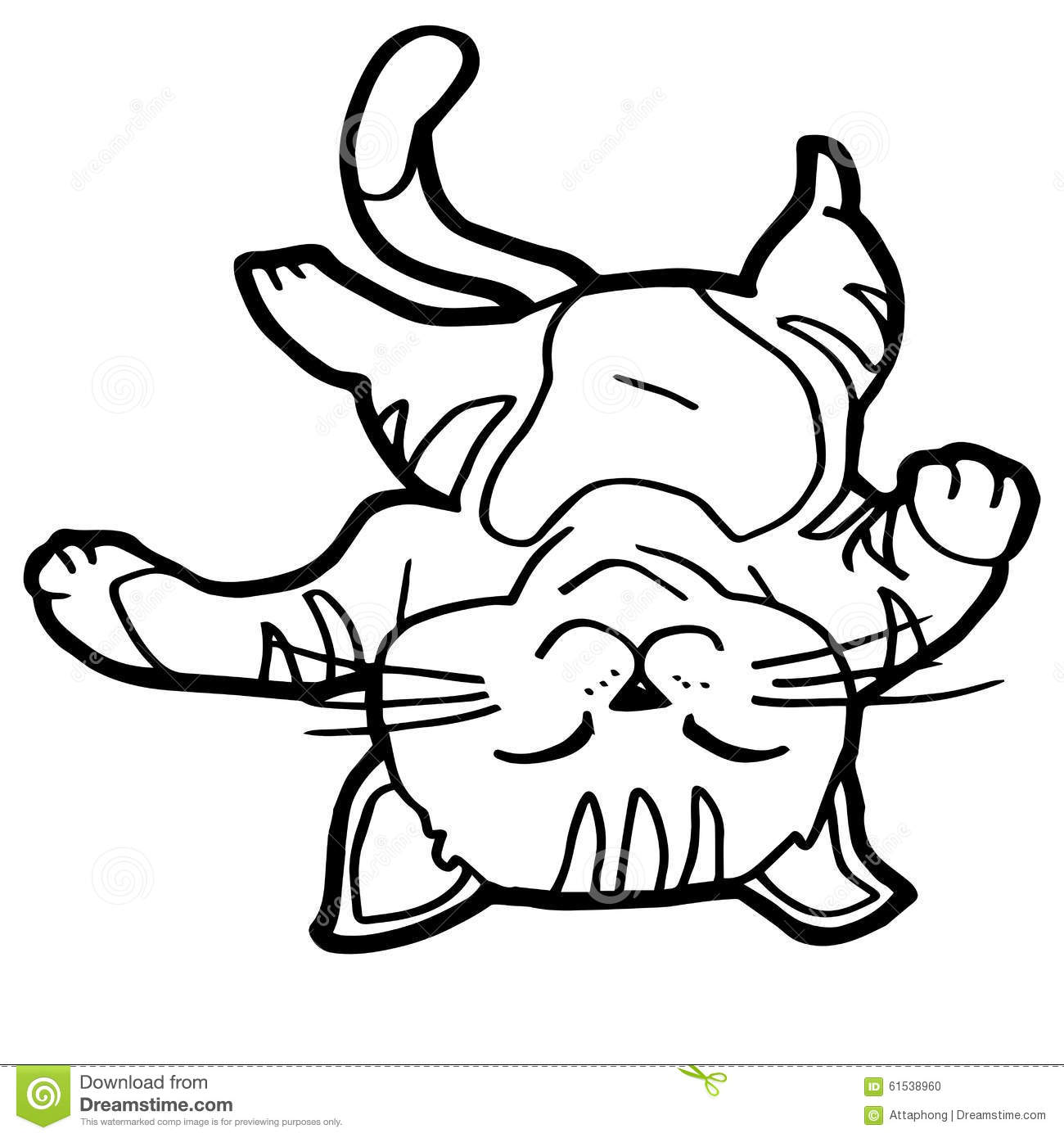 Cartoon Cat Coloring Page Stock Vector Image 61538960