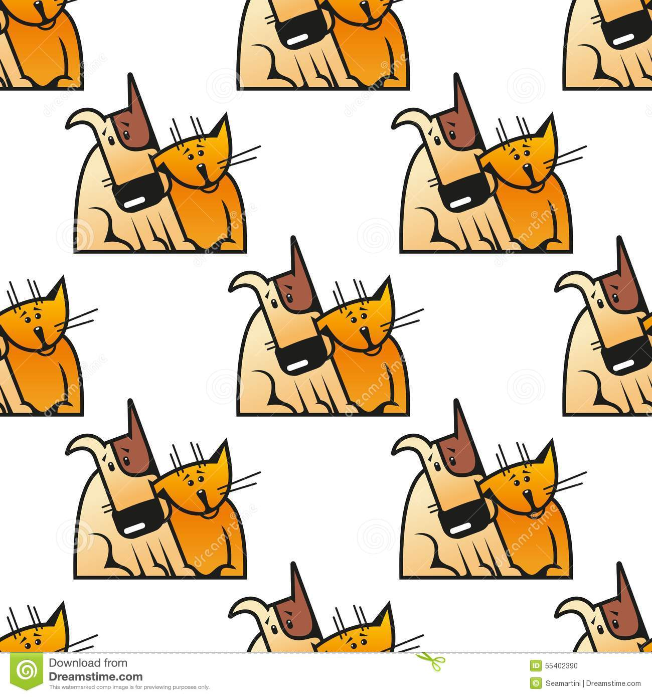Cartoon Cat And Dog Seamless Pattern