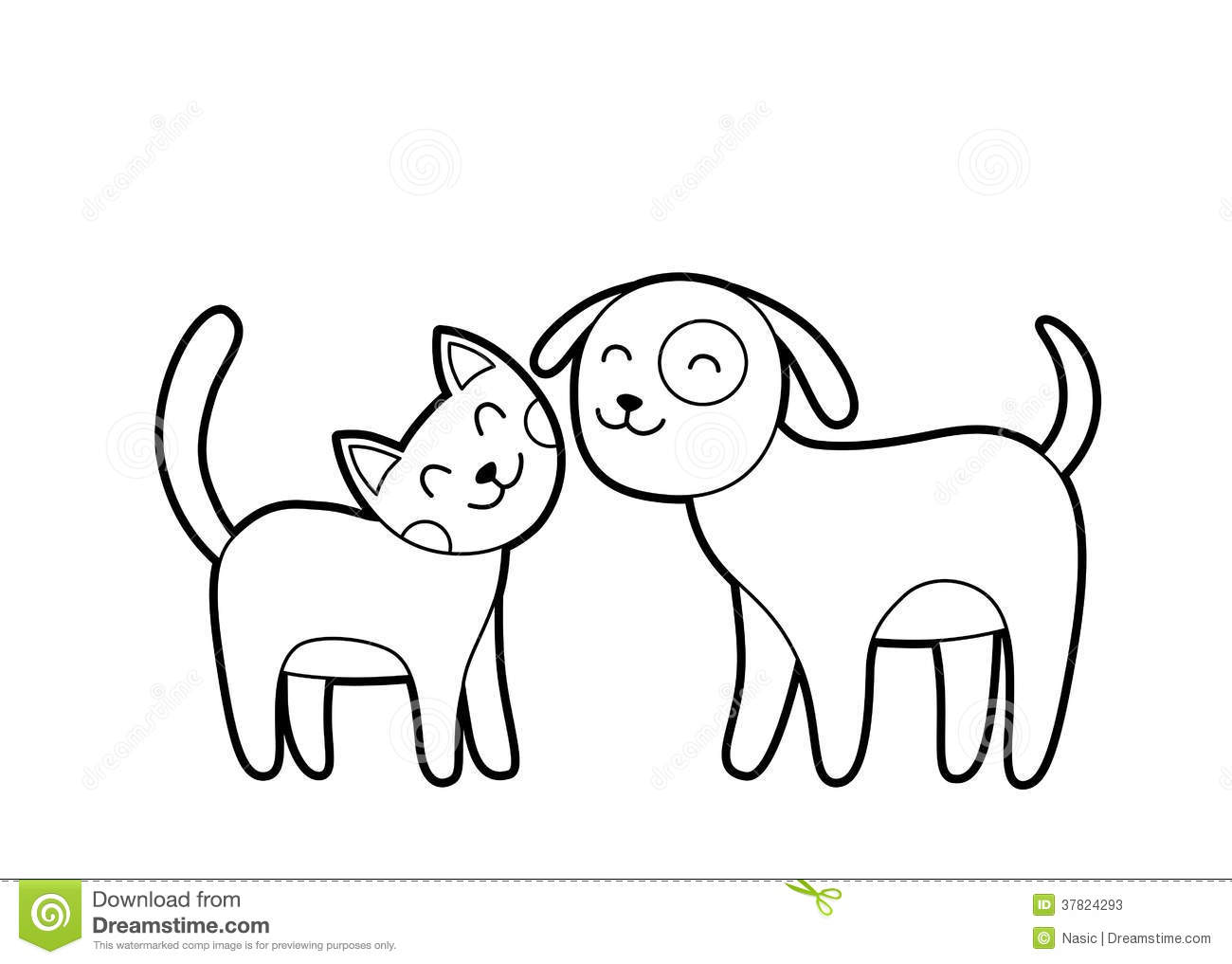 Cartoon Cat And Dog Sketch Stock Vector. Illustration Of