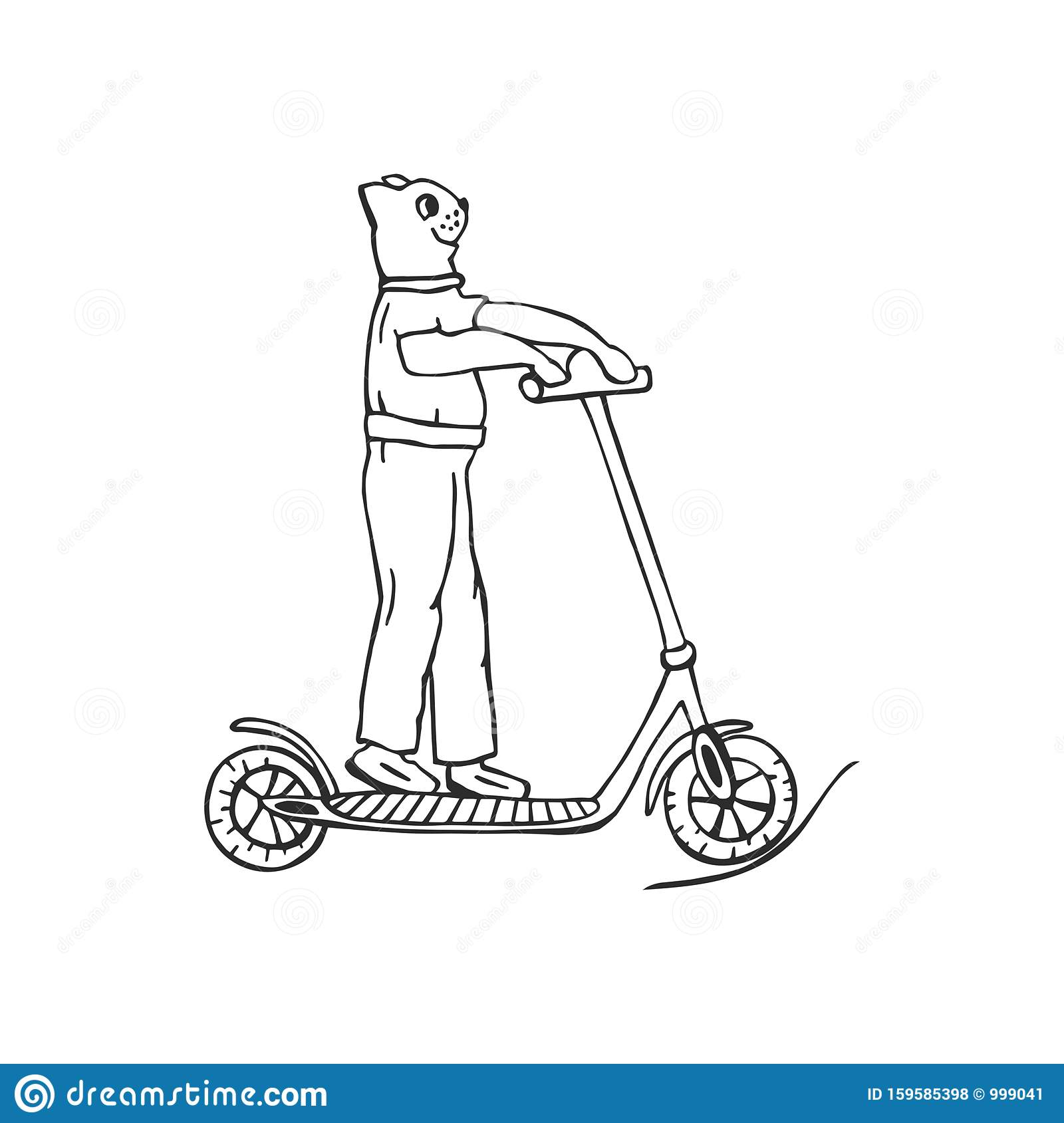 Cartoon Cat On Electric Scooter Eps10 Vector Illustration Hand Drawing Stock Vector Illustration Of Sign Beautiful 159585398