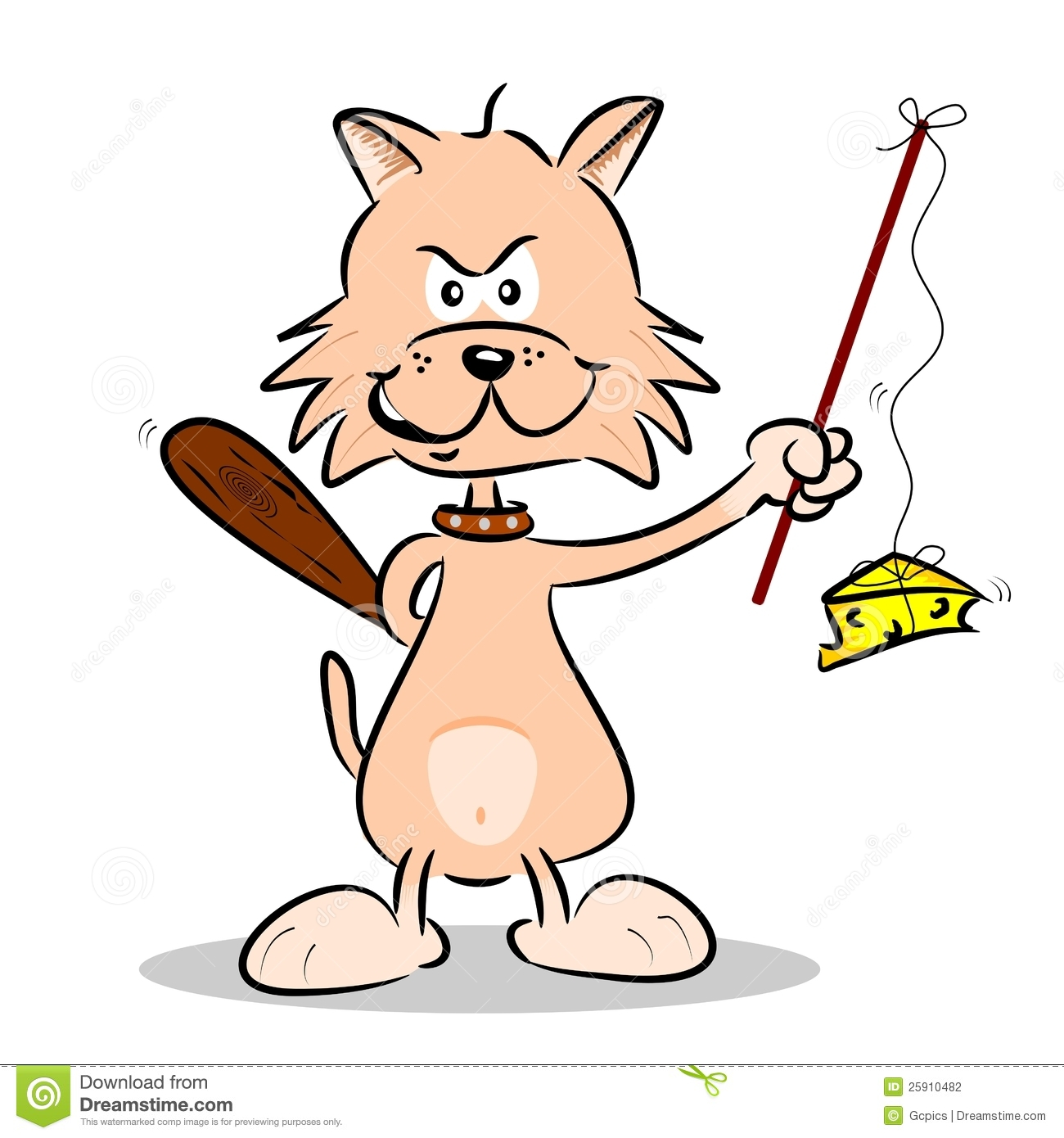 A Cartoon Cat Hunting Mice Stock Photography Image 25910482