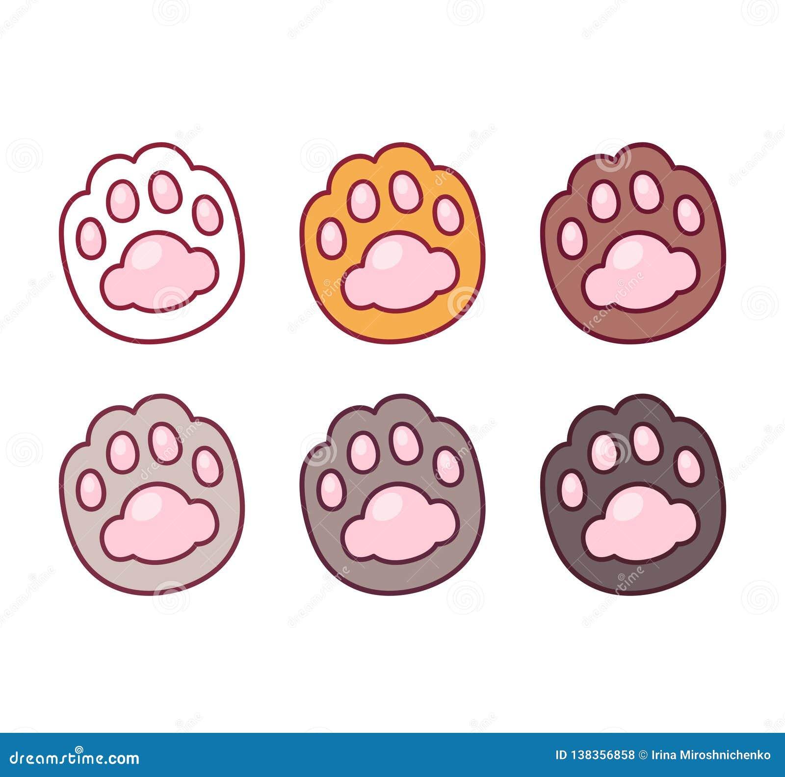 Cartoon Cat Paw Prints Set Stock Vector Illustration Of Kitty 138356858