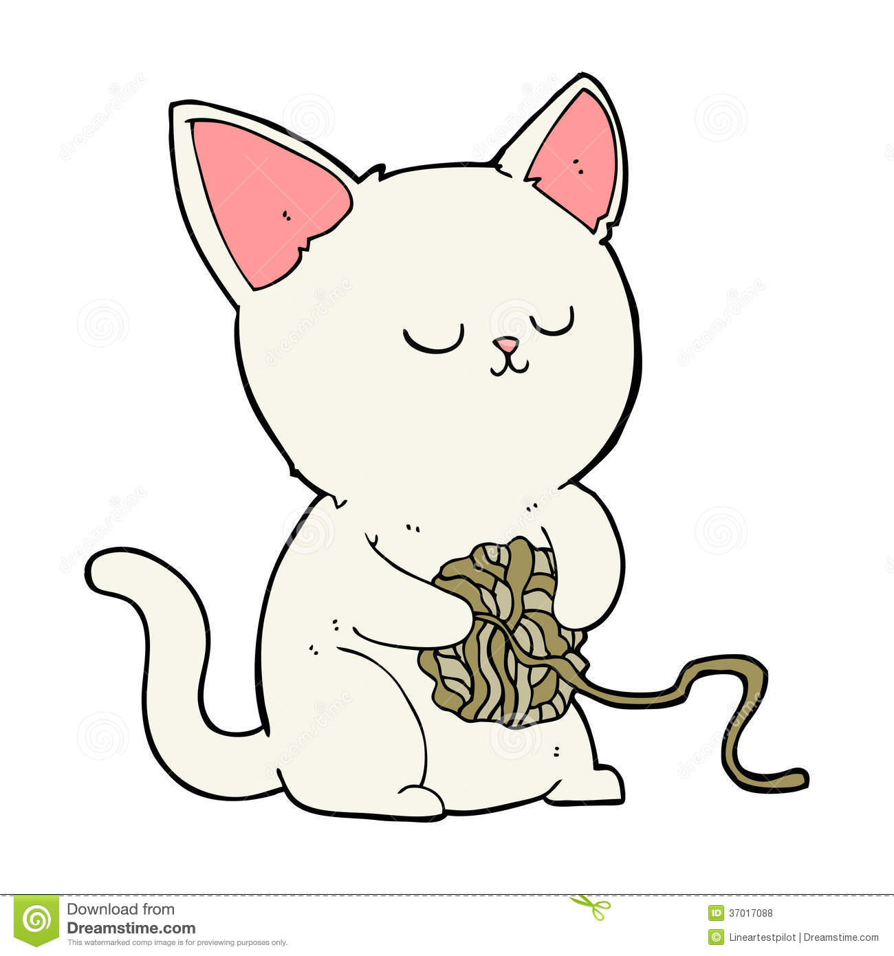 cartoon cat playing with ball of yarn royalty free stock