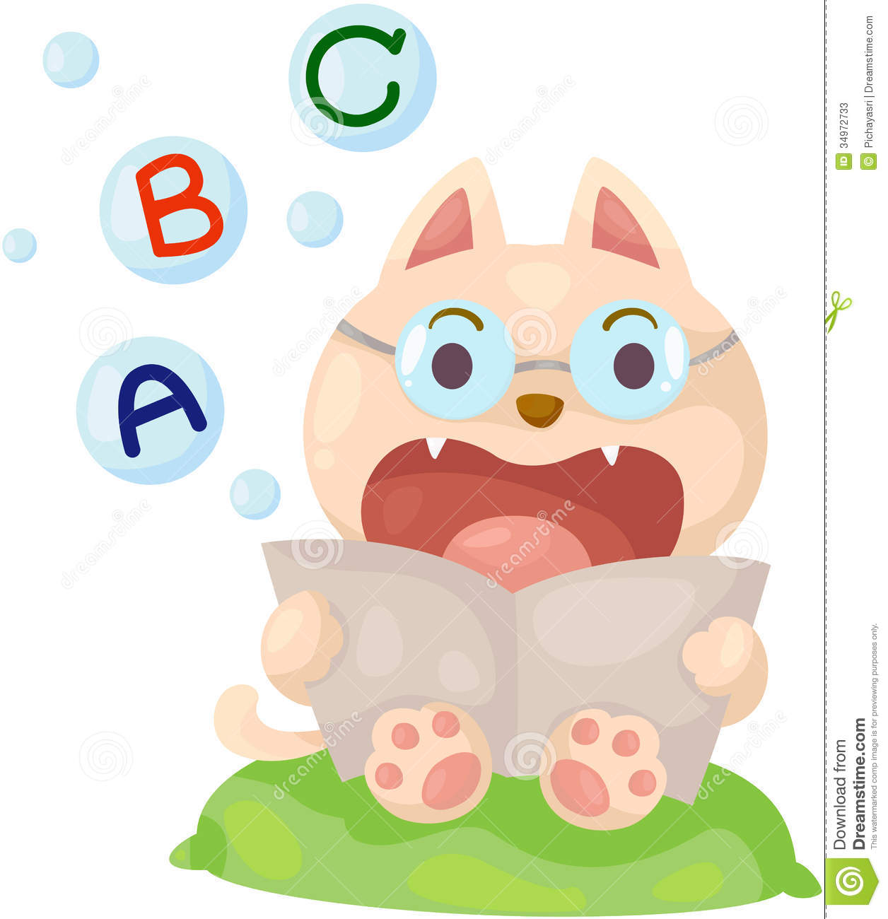 Cartoon Cat Reading English Book Stock Photos - Image: 34972733