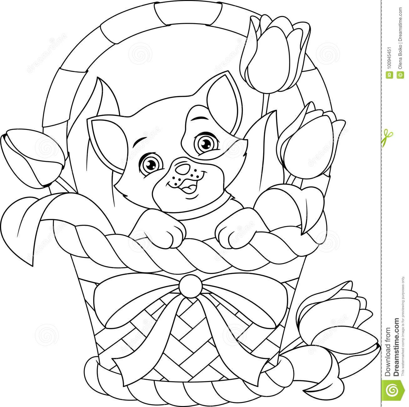 Cat In Basket Coloring Page Stock Vector