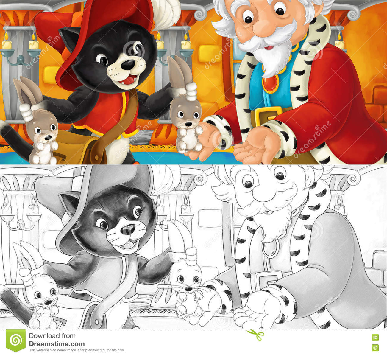 cartoon cat visiting king his castle giving him hares coloring page happy funny traditional illustration children