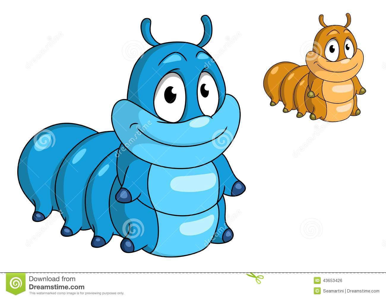 Cartoon caterpillar insect character. Blue and beige color animals for ...